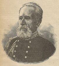 A3556 Ritratto del Generale Angelo Pichi - Incisione - Stampa Antica del 1891