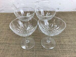 SET 4 X VINTAGE CHAMPAGNE SAUCER GLASSES COUPES