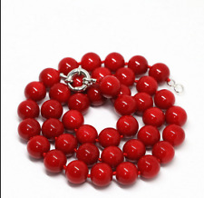 """New fashion red coral 10mm round beads Gemstone necklace 20""""AAA"""