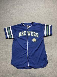 Milwaukee Brewers Baseball Jersey Youth XL / 18 MLB Graphics Print Button Boys