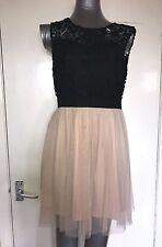 FOREVER 21, SIZE LARGE, BLACK & NUDE PINK SHORT SLEEVELESS NET DRESS, PRE-LOVED