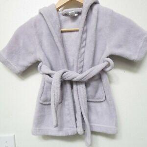 Baby Bath Robe Soft Hooded Flannel Towel Wrap Bathrobe Purple 18-24m girl toddle