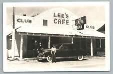 Lee's Cafe & Bar RPPC Vintage Restaurant Photo~Neon Sign CAR Postcard 1950s