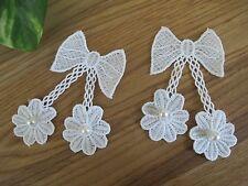 "Lot 2Pcs 4"" White Pearl Lace Ribbon Bow Sewing Trim Appliqué Sew On Patch"
