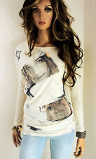 GUESS Damen Shirt Langarm XS 34 36 creme Top Baumwollmischung PRINT