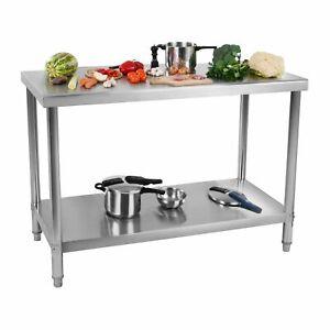 Tavolo Inox Da Lavoro Da Cucina Acciaio Inossidabile 100 x 60 cm Capacità 114 kg