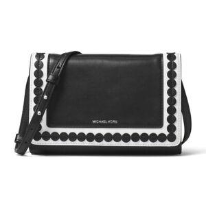 Michael Kors Analise Medium Leather Messenger Bag Black New