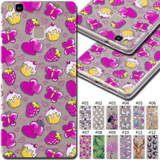 For Huawei Painted Pattern Clear Back Silicone TPU Rubber Soft Case Skin Cover