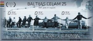 Stamp minisheet of LATVIA 2014 - Baltic chain 25 MNH