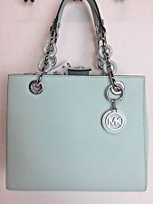 NWT Michael Kors Cynthia Small Saffiano Leather NS Satchel Celadon $298