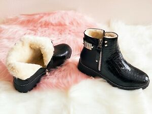 LADIES WOMENS CHELSEA STUDS ANKLE BOOTS CHUNKY LOW HEEL FUR LINED SHOES SIZE 3-8