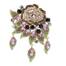 HUGE 4,02'' GREEN PURPLE FLOWER BROOCH MADE WITH SWAROVSKI CRYSTALS NEW