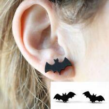 2X Tiny Black Bat Ear Studs Batman Earrings Halloween Creepy Novelty Jewelry #Y1