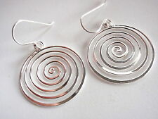 Tight Spiral Dangle Earrings 925 Sterling Silver Corona Sun Jewelry New