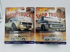 Hot Wheels Shop Trucks lot of 2 Volkswagen Caddy & '62 Chevy