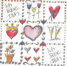 Lot de 2 Serviettes en papier Amour Coeur Decoupage Collage Decopatch
