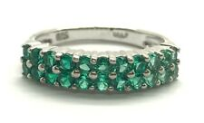 Sterling Silver 925 Green Tourmaline Double Row Channel Set Cocktail Band Ring 5