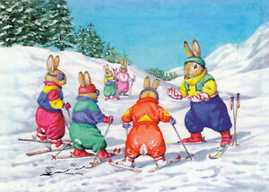 Postkarte: Audrey Tarrant -  Hasen-Skischule