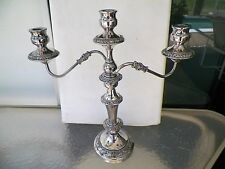 "MINT ORNATE CONVERTIBLE 1-3 CANDLE SILVERPLATED CANDELABRA 11 1/2"" UP TO 18''"