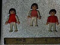 Vintage lot of 3 Geobra Playmobil Small Plastic red Boy Figures