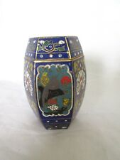 Vintage Chinese Cloisonne Enamel Toothpick Holder Bird & Flower Patterns Hexagon