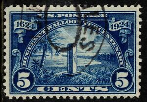 1924 US Sc #616 - 5c Huguenot-Walloon Used with Oval Cancel, SCV $13.00