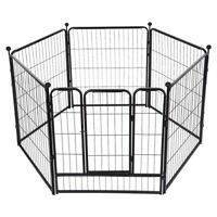 Metal 32 Inch Pet Dog Playpen Folding Kennel Exercise Crate Fence Cage 6 Panels