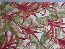 Designer Robert Allen fabric Dupont Teflon Tropical Leaves Green Rust Beige 1+yd