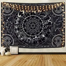 Psychedelic Black Mandala Tapestry Hippie Room Wall Hanging Blanket Home Decor