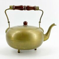 Vintage Solid Brass Footed Teapot Tea Kettle Stained Wood Handle Made in India