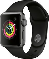 NEW AppleWatch Series 3 38mm Space Gray Aluminum Case with Black Sport Band GPS