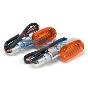 Mini Rectangle Aluminum Turn Signals Lights Dual 12 Volt Chrome Amber