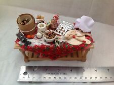 DOLLS HOUSE MINIATURES  -  Christmas Food Preparation Table