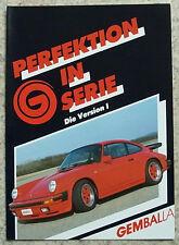 PORSCHE 911 GEMBALLA Car Sales Brochure 1980's GERMAN TEXT