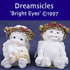 2 Dreamsicles Bright Eyes Cd108 Cherub Angels 1997 Wreath Crowns Holding a Bunny