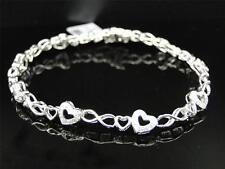 Ladies Womens White Gold Finish Genuine Diamond Heart Tennis Bracelet 0.35 Ct