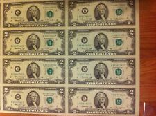 *2009 Uncut Sheet $ 2 X 8 EARLY RELEASE * Crisp 2 Dollars * EXTREMELY RARE*
