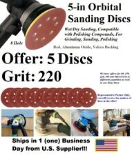 "Round Hook & Loop Sanding Disc-Red, Alum Oxide, Size 5"", Grit/Qty 5PC-Orbital"