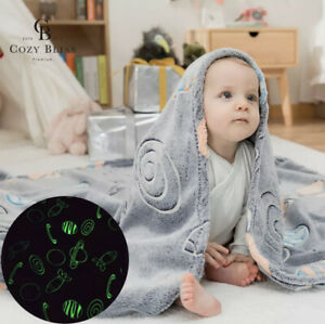 GLOW IN THE DARK FLANNEL BABY THROW BABY BLANKET