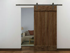 6 FT Dark Coffee Wood Steel Sliding Door Hardware Set Barn Antique Style Closet