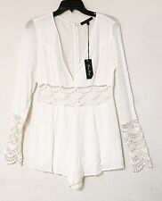 e0abb00a0b2e Honey Punch crochet White Romper Women s Sz Medium