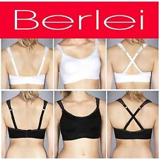 BERLEI ULTIMATE PERFORMANCE SUPPORT SPORTS CROP TOP BRA BLACK  WHITE WOMEN Y599W