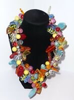 Large Multi Color Glass Bead Chunky  Statement Necklace