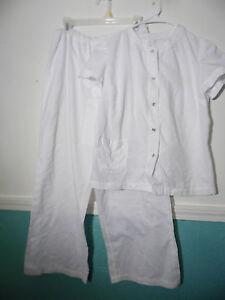 Vintage Handmade Pant Suit  Pajama Set Jacket White Size Medium Cotton