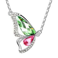 White Gold Filled Green Pink Made with Swarovski Crystal Butterfly Necklace N232