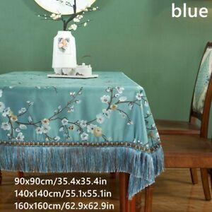 Satin Jacquard Floral Table Cover Square Tablecloth Fringe Tassel Decor Home