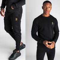 Gym King Mens Black Gold Designer Sweatshirt Slim Tapered Joggers Tracksuit