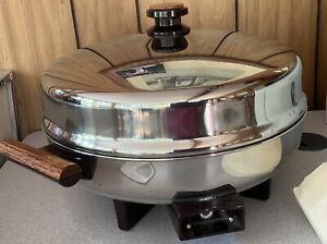 """Vintage Farberware Presentation High Dome12"""" Electric Fry Pan No. 512 oak trim"""