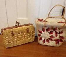 Bundle two vintage straw purses, 1 project, 1 shabby