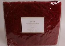 NWT Pottery Barn Washed Velvet Silk Diamond quilted standard sham, ruby red